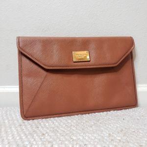 Michael Kors Envelope Clutch brown leather gold hardware
